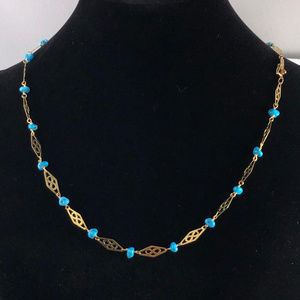Vintage 14K Gold Infinity  & Turquoise Necklace